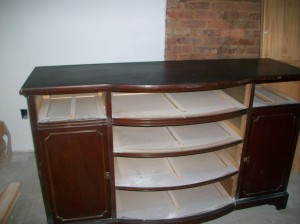 An old buffet will be repurposed as our vanity