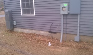 Little flags mark path to house that trencher will take