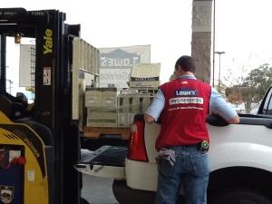 Forklift loading tile
